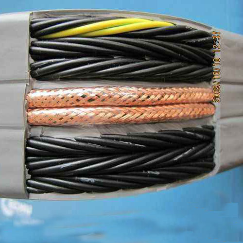 Driving crane shielded rubber flat cable